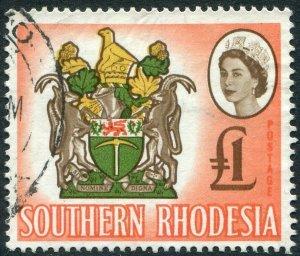 SOUTHERN RHODESIA-1964 £1 Brown, Y-Green, Buff & Salmon-Pink Sg 105 FU V48907