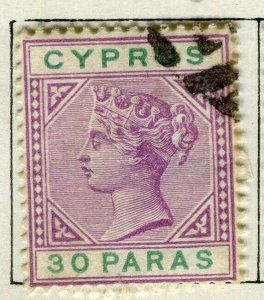 CYPRUS; 1894 classic QV Crown CA issue fine used 30pa. value