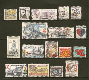 Czechoslovakia Lot of 17 Different 1980's Stamps CTO