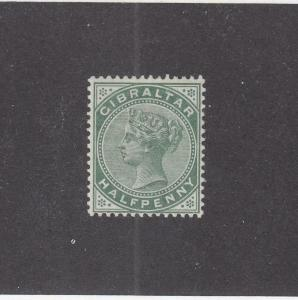GIBRALTAR (MK1015) # 9  VF-MH  1/2d  QUEEN VICTORIA /LIGHT GREEN CAT VALUE $14