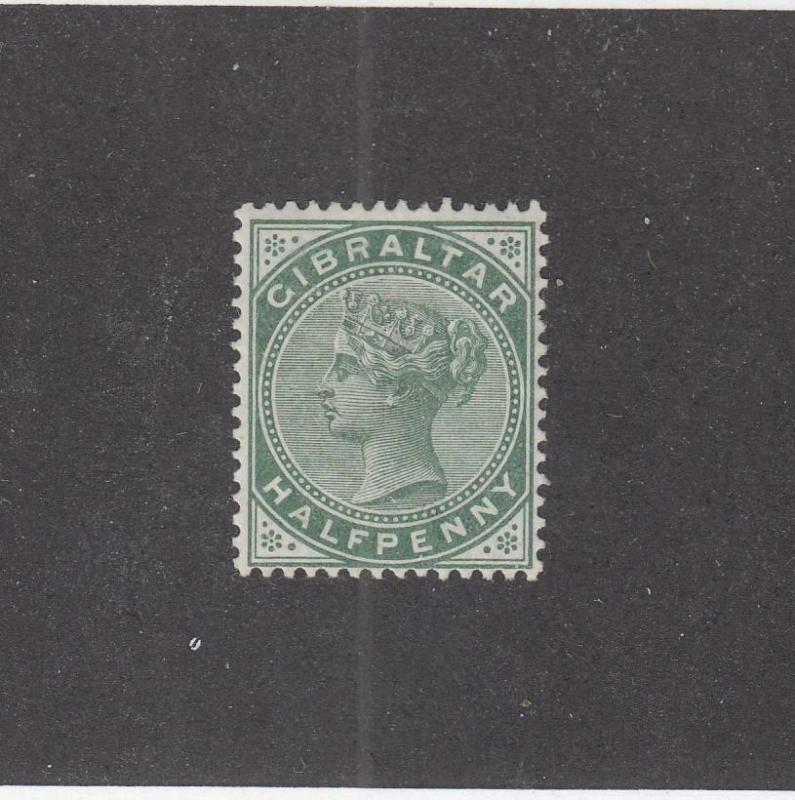 GIBRALTAR (MK1015) # 9  VF-MH  1/2d  QUEEN VICTORIA /LIGHT GREEN CAT VALUE $14