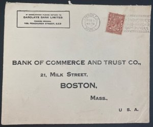 1928 London England Commercial Cover To Bank Of commerce Boston MA Usa