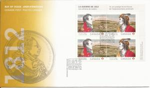 2012 Canada FDC Sc 2555a - The War of 1812 - PB UR