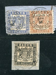 Baden #22,23  used on piece   - Lakeshore Philatelics