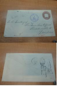 Costa Rica PSE 1895 10c to USA, backstamps, embossing on back