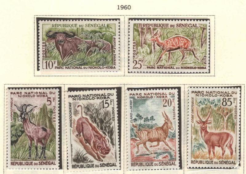 Senegal Scott 195-200 MNH** wildlife set of 1960