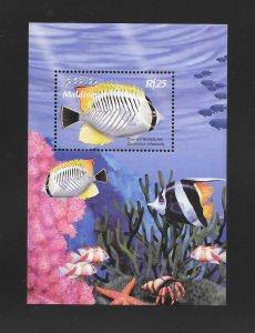 FISH - MALDIVES #2477  CHEVRON BUTTERFLYFISH  MNH