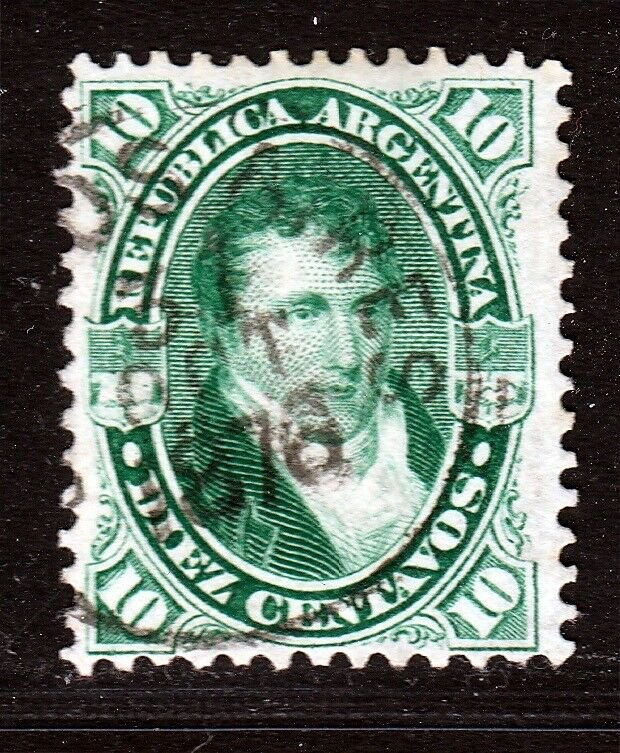 Argentina 1873 10c Green Laid Paper Variety Used. Scott 27