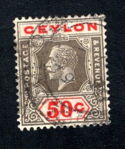 Ceylon #240a,    VF, Used, Light Crease,CV $100.00 ....  1290204