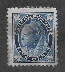 Canada Scott #70 Mint 5c Queen Victoria 4 corner Maple Leaves 2015 CV $150.00