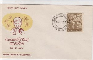 India 1963 Childrens Day Illust. Cancel Lady With Kids Stamp FDC Cover Ref 34727