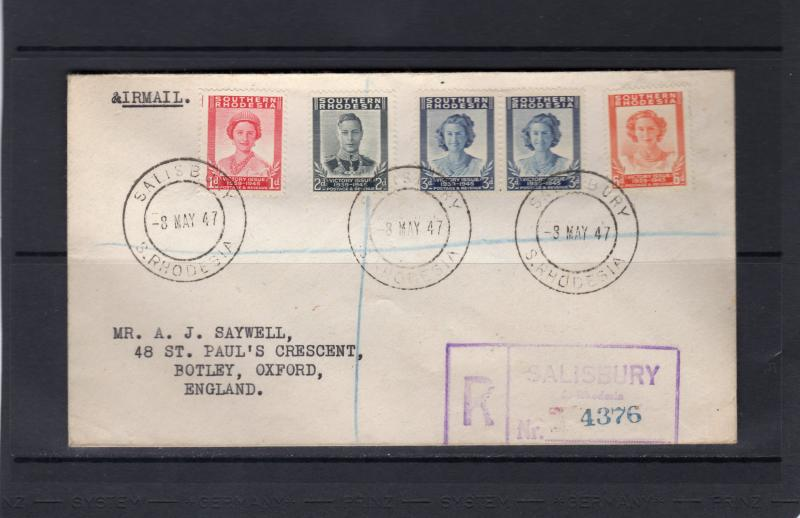 Southern Rhodesia 1947  Victory issue First Day cover to Oxford,England