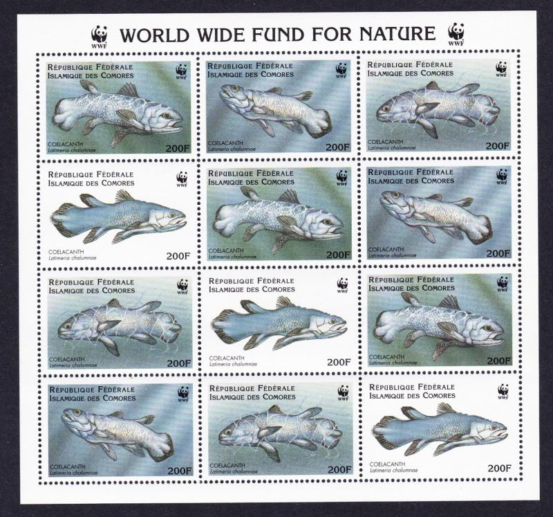 Comoro Is. WWF Coelacanth Sheetlet of 3 sets / 12 stamps SC#833 a-d MI#1261-1264