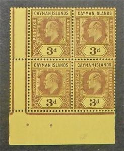 Cayman Islands 24. 1907-09 3p Violet on yellow KEVII, block