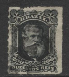 Brazil - Scott 73 - Dom Pedro Issue -1878 - Rouletted - Used- Single 200r Stamp
