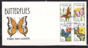 Gambia, Scott cat. 836, 839-40, 843. Butterflies. Part 1.First day cover. ^