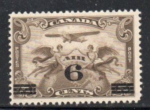 Canada Sc C3 1932 6 c on 5 cent airplane & globe airmail stamp mint