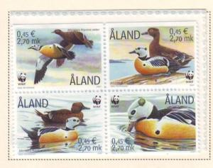 Aland Finland  Sc 185 2001 ducks WWF stamp set mint NH