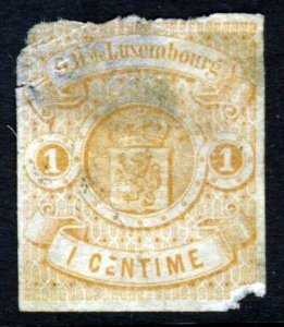 LUXEMBOURG 1863 1c. Pale Brown IMPERFORATE SG 6  Flaws