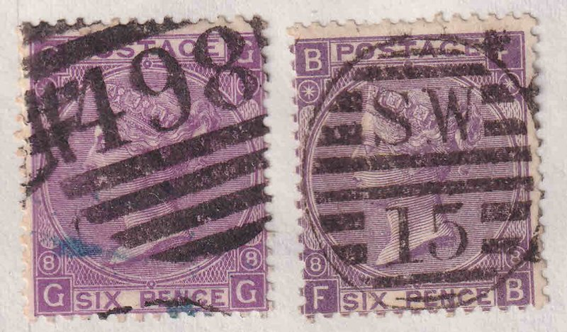 GREAT BRITAIN SC 51a PLATE 8 CANCELS SOUND x2 $270 SCV MOUNTED #3