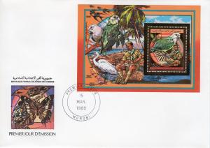Comoro Islands 1989 Parrots/Fungi/Scouts Gold Foil Souvenir Sheet Perforated FDC