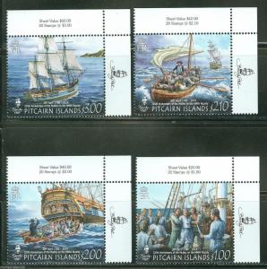 PITCAIRN ISLAND  225th ANNIVERSARY OF THE MUTINY ON THE HMS BOUNTY SET MINT NH