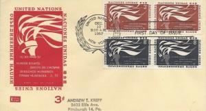 UN #55/56 HUMAN RIGHTS FDC 1957 - Kolor Kover