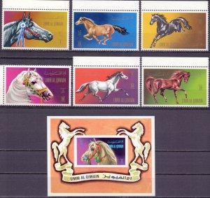 Umm al quwain. 1972. 496-501, bl36. Horses fauna. MNH.