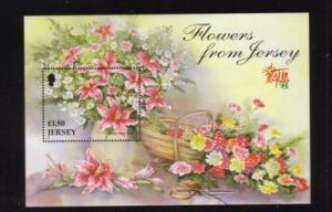 Jersey Sc 878 1998 Autumn Flowers stamp  sheet mint NH
