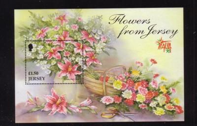 Jersey Sc 878 1998 Autumn Flowers stamp  sheet mint NH