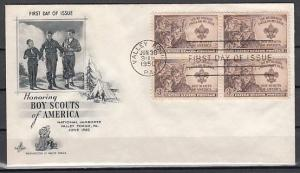 United States, Scott cat. 995. National Jamboree Block/4 issue on a First day. ^