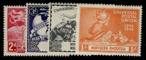 NORTHERN RHODESIA GVI SG50-53, anniversary of UPU set, M MINT.