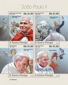 SAO TOME - 2019 - Pope John Paul II - Perf 4v Sheet - MNH