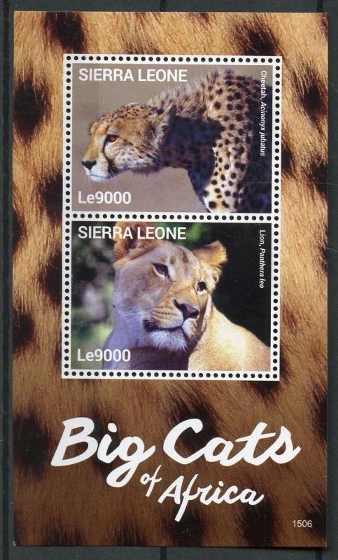 Sierra Leone 2015 MNH Big Cats of Africa 2v S/S II Wild Animals Lions Stamps