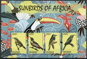 Tanzania Birds on Stamps 2014 MNH Sunbirds of Africa Fraser's Sunbird 4v M/S