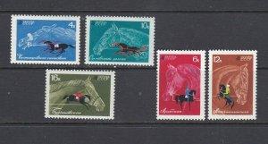 RUSSIA - 1968 HORSE BREEDING - SCOTT 3433 TO 3437 - MNH