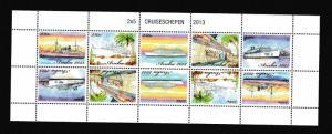 Aruba  #426  MNH  2013  sheet  with 2 strips of 5 tete-beche cruise ships