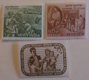 India 442, 444-5 Three full Sets MNH  Cat 1.75