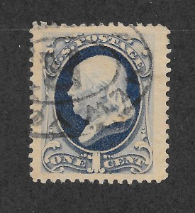 182 Used jumbo, XF, Neat Cancel, 1c. Franklin,