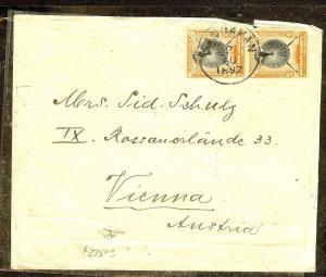 NORTH BORNEO (P1106B)  1897 5C BIRD PR SANDAKAN TO AUSTRIA