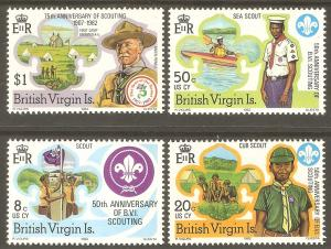 VIRGIN ISLANDS Sc# 438 - 441 MNH FVF Set-4 Boy Scout Flag