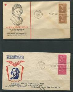 USA 1939 (2) Covers First Day Of Issue Martha Washington  John Adams Vertical...