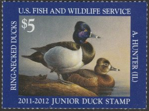 US JDS19 Junior Duck Ring-Necked Ducks $5 single (1 stamp) MNH 2011-2012