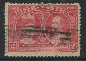 Canada - Scott 98 - Quebec Tercentenary Issue - 1908 - Used - Single 2c Stamp
