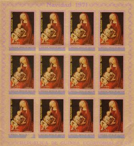 Equatorial Guinea 1972 WEYDEN  FAMOUS PAINTINGS Sheetlet (12v) IMPERFORATED MNH