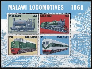 MALAWI, 90A, MNH, SS OF 4 , LOCOMOTIVES