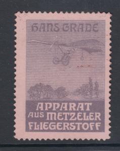 Germany, Hans Grade Aviation Pioneer, Metzeler Flying Machine Poster Stamp