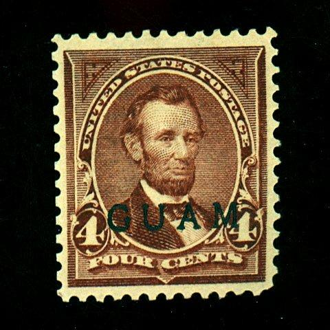 Guam #4 MINT VF OG LH Reperfed Left Cat $125