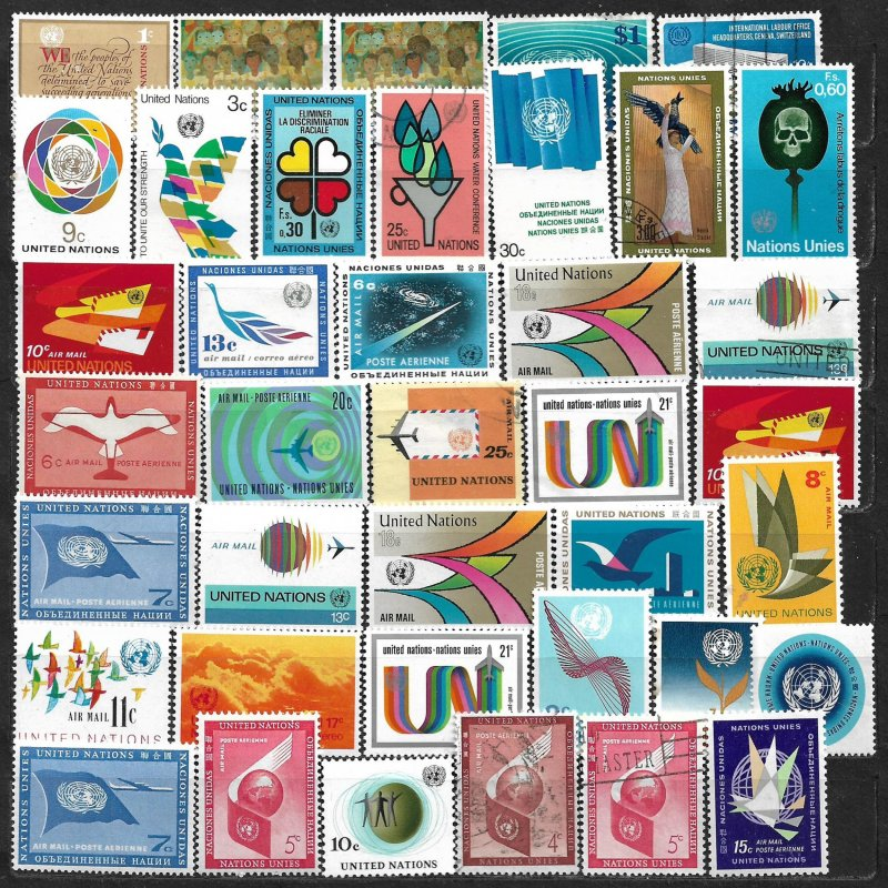 COLLECTION LOT OF 39 UNITED NATIONS 1957+ STAMPS