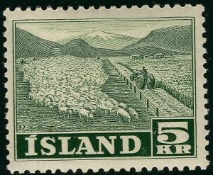 Mint H Iceland 1950 #268 5KR F-VF SCV$20...great centering!